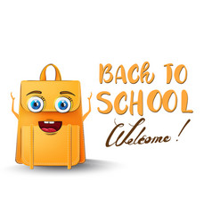 backpack cartoon character back to school funny vector image