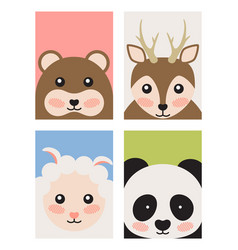 bear and deer sheep and panda vector image