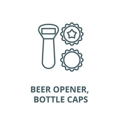 beer opener bottle caps line icon beer vector image