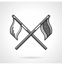 Black icon for crossed flags vector