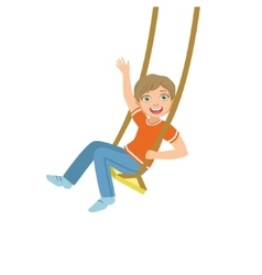 Boy On The Rope Swings Waving vector image