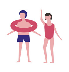 boy with inflatable ring and girl in red swimsuit vector image