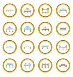 Bridge construction icons circle vector