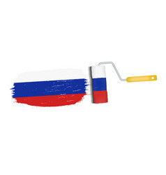 brush stroke with russia national flag isolated on vector image