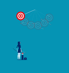 Businesswoman shooting arrows missing target vector