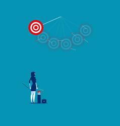 Businesswoman shooting arrows missing target vector