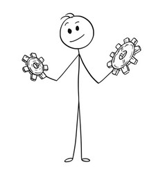 Cartoon of businessman with two cog wheels vector