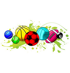 cartoon sports balls set vector image