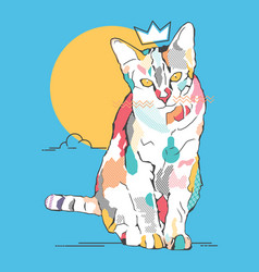cat color modern line vector image