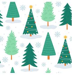 christmas tree seamless pattern noel print vector image
