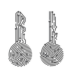 circuit fingerprint key security system user vector image