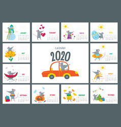 colorful monthly calendar with a cute rat - a vector image