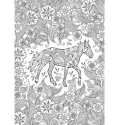 coloring page in zentangle inspired style running vector image