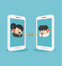 communication between business men and women via vector image