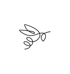 continuous line bee logo icon bumblebee outline vector image
