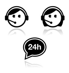 Customer service icons set - call center agents vector
