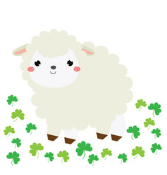 Cute cartoon sheep lamb farm animal character vector