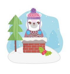 cute polar bear in chimney tree merry christmas vector image
