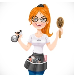 Cute redhead girl hairdresser with spray and vector image