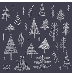 Decorated christmas trees set dark vector