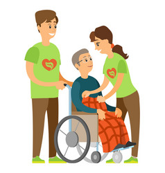 disabled pensioner volunteering people vector image