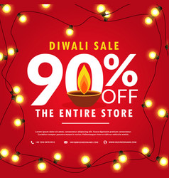 diwali sale poster and banner with lights on red vector image