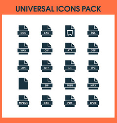 document icons set with pdf exe wav and other vector image
