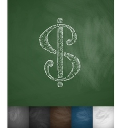 Dollar icon Hand drawn vector