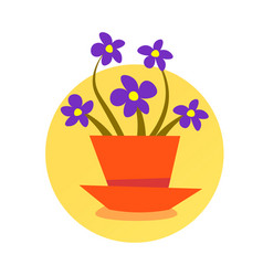 domestic potted plant cute isolated round frame vector image