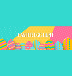 easter egg hunt horizontal banner with a lettering vector image