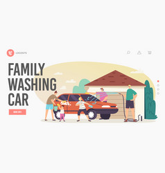 Family washing car landing page template happy vector