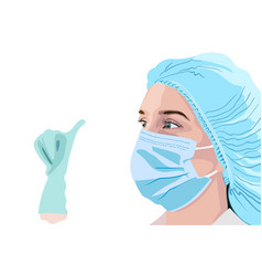 Female doctor in surgical mask hat and gloves vector