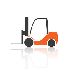 Flat forklift icon vector