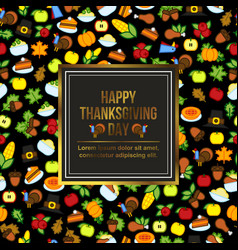 frame with abstract thanksgiving day icon holiday vector image