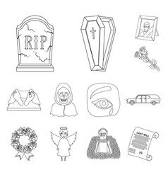 Funeral ceremony outline icons in set collection vector