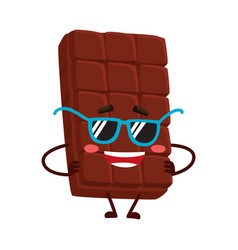 funny chocolate bar character in funky sunglasses vector image