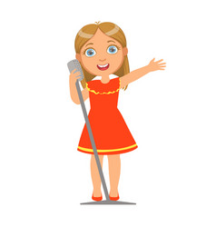 girl in red dress singing kid performing on stage vector image