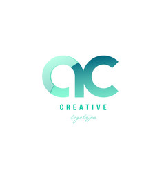 Green gradient pastel modern ac a c alphabet vector