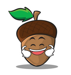 Grinning acorn cartoon character style vector