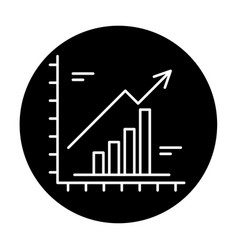 growth chart black icon sign on isolated vector image