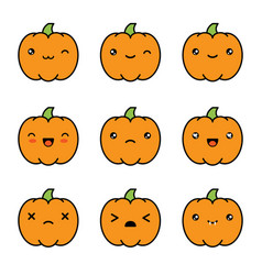 Halloween kawaii cute pumpkin icons isolated on vector