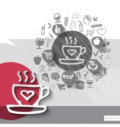 Hand drawn coffee icons with food icons background vector