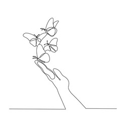 Hand with butterfly on finger continuous one line vector