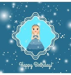Happy Birthday blue card with princess vector
