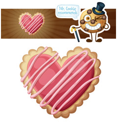heart sugar cookies cartoon vector image