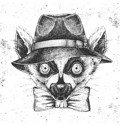Hipster animal lemur in hat hand drawing muzzle vector
