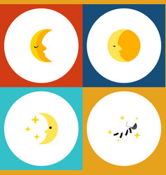 Icon flat night set of nighttime moon crescent vector