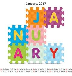 January 2017 puzzle calendar vector