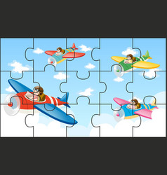 Jigsaw puzzle game with kids flying planes vector