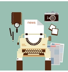 Journalist publishes news on a typewriter vector